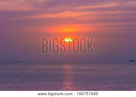 Beautiful sunset over the sea at Rayong, Thailand