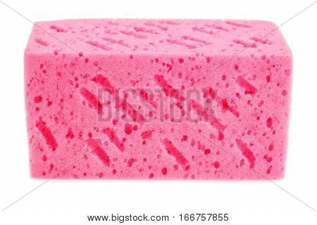 Pink sponge isolated on a white background.