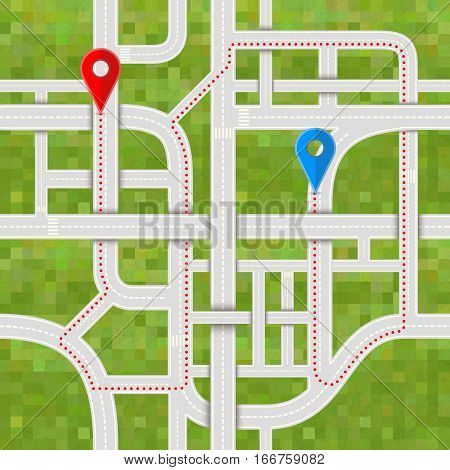 Difficult road junctions with complicated path between GPS pins on grass background, seamless pattern