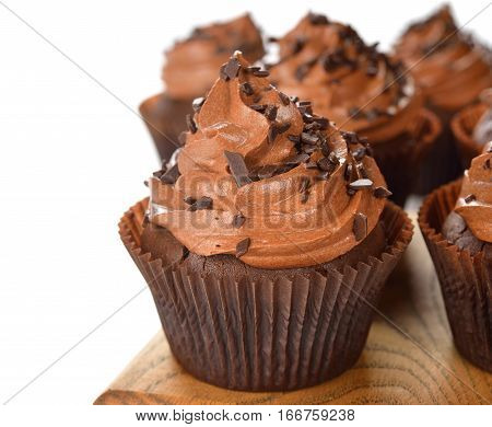 Chocolate cupcakes on a white background close up