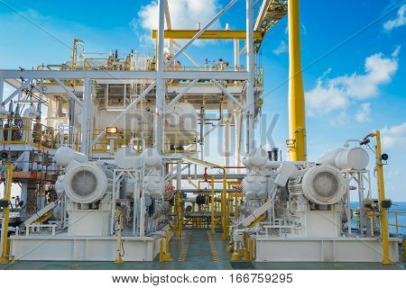 Gas booster compressor in vapor recovery unit and behind is reflux drum these system for recovery heavy hydrocarbon lost in light end gases at oil and gas central processing platform