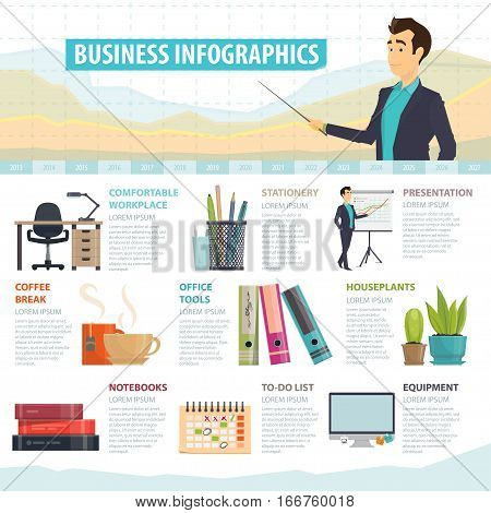 Business elements infographic template with office stationery equipment furniture and tools vector illustration