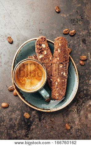 Espresso Coffee and Traditional Italian Biscotti Cantuccini. Top view.