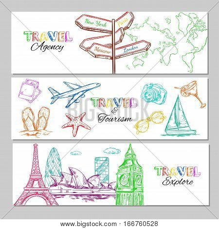 Travel sketch horizontal banners with popular tourist directions elements and famous buildings vector illustration