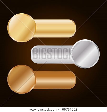 gold silver and bronze equalizer knobs icon image vector illustration design