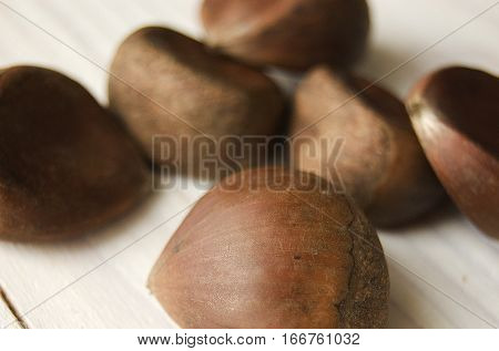 chestnut chestnut fruit on a wooden table