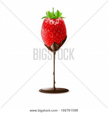 Strawberry with Leaves in Chocolate Trickle Isolated on White Background