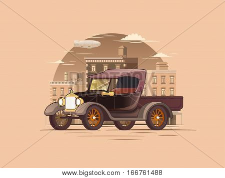 Flat pickup truck template of retro construction on old cityscape background isolated vector illustration