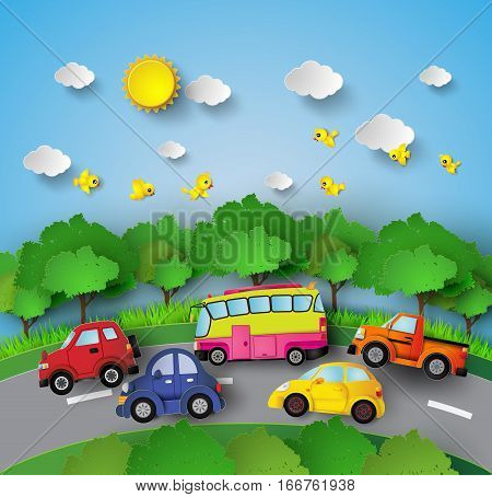 car on road curve with sunshine and birds on blue sky.