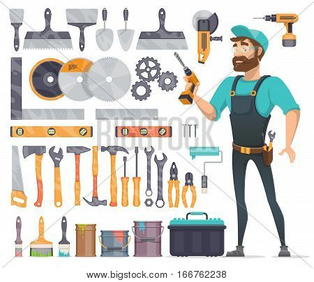 Home repair tools icons set with foreman and working instruments accessories and equipment isolated vector illustration