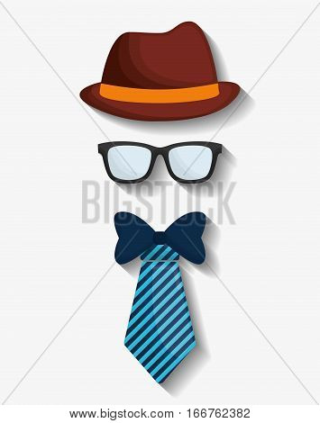 hat necktie and glasses hipster items image vector illustration design
