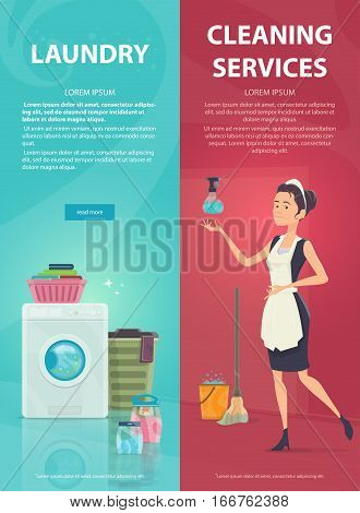 Housekeeping vertical banners with maid washing machine and different cleaning tools vector illustration