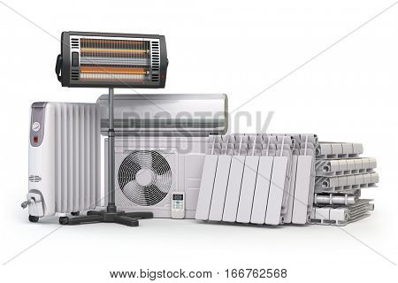 Heating devices and climate equipment.  Heating household appliances. Air conditioner, radiators, oil and radiant electric heaters isolated on white background. 3d illustration