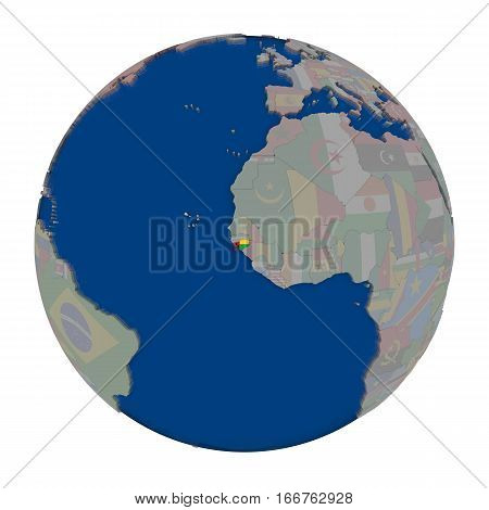 Guinea-bissau On Political Globe