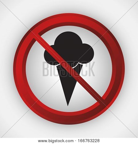 ice cream or food forbidden icon image vector illustration design