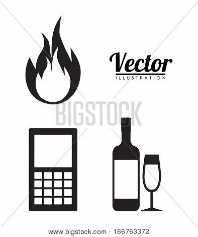 fire cellphone alcoholic drinks forbidden icon image vector illustration design