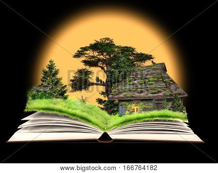 Fairy tale on the pages of an open book. Rustic old house a forest glade with flowers. Idyllic picture for kids