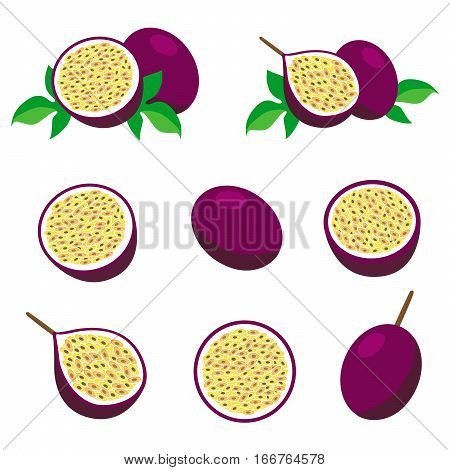 Passion fruit with leaves. Collection of different fresh passion fruit.
