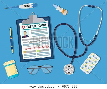 Top view of doctor workplace. Medical stethoscope, electronic thermometer and pills, Clipboard with patient card. Vector illustration in flat style.. Medical concept.