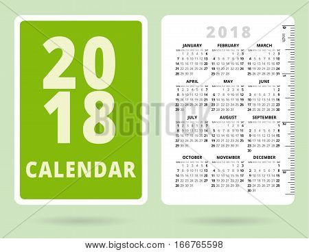 Pocket Calendar 2018 with inch ruler. Vector template