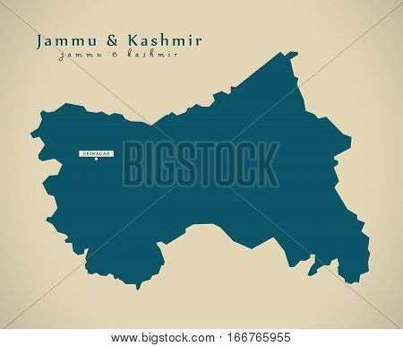 Modern Map - Jammu And Kashmir In India Federal State Illustration