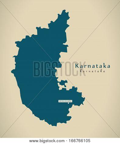 Modern Map - Karnataka In India Federal State Illustration