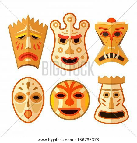 Collection of different wooden voodoo masks isolated on white
