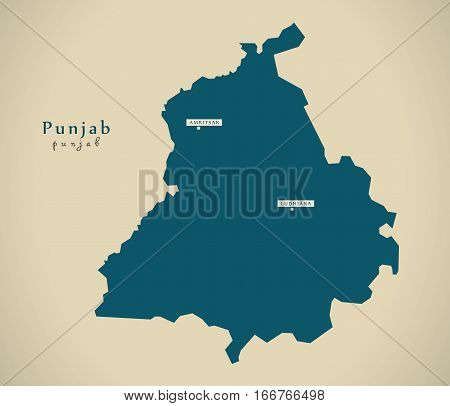 Modern Map - Punjab In India Federal State Illustration