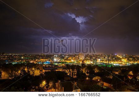 Beautiful View Of The Lightning In The Night City