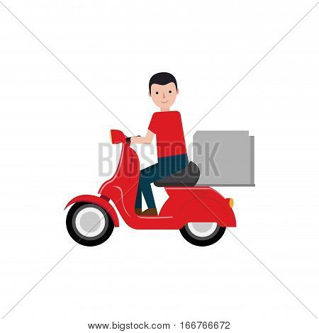 delivery boy riding scooter package vector illustration eps 10