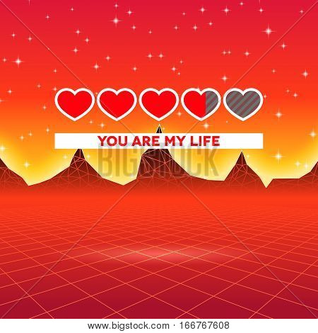 Valentines Day hearts of love themed retro game card with 80s styled neon landscape and life status bar