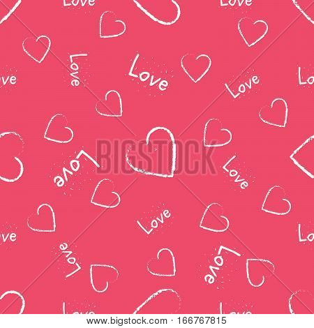 Cute hearts with text seamless vector pattern. Valentine's Day background.