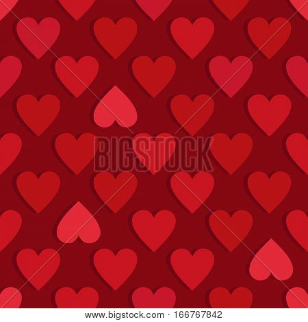 Red hearts seamless pattern. Valentine's day vector.