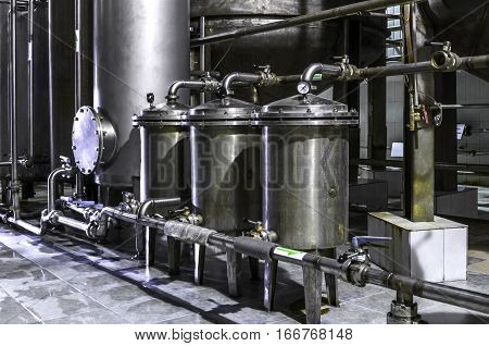 Tank equipment stainless steel. Pharmaceutical and chemical industry. Manufacture on plant