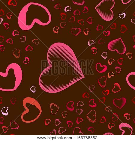 Valentines Day seamless pattern with pink hearts sprayed for background, card or wrapping paper