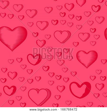 Valentines Day seamless pattern with red hearts sprayed for background, card or wrapping paper