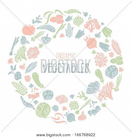 Vector illustration with hand drawn vegetables and lettering. Healthy food concept various organic product in a circle