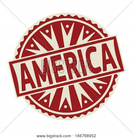 Stamp label or tag business concept with the text America vector illustration.
