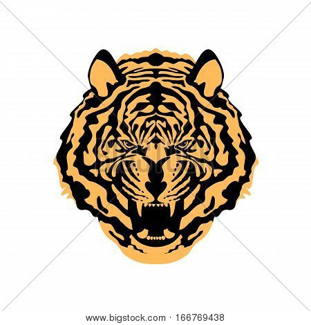 tiger face vector illustration style Flat front