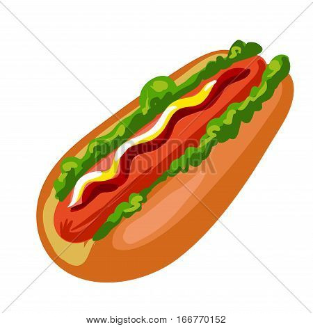 Hotdog. American fast food bun with sausage, mustard and ketchup. Hot dog icon in flat style. Unhealthy nutrition. Vector illustration of isolated on white background.