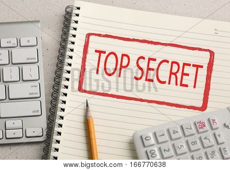 top secret stamp, concept on a notebook