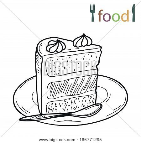 vector sketch of piece of cake on a plate on a white background