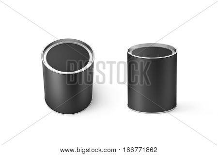 Blank black round can mockup set isolated 3d rendering. Clear grey cylindrical canned container with lid top view mock up. Conserved food packaging template. Tin cylinder preserved meal canister.