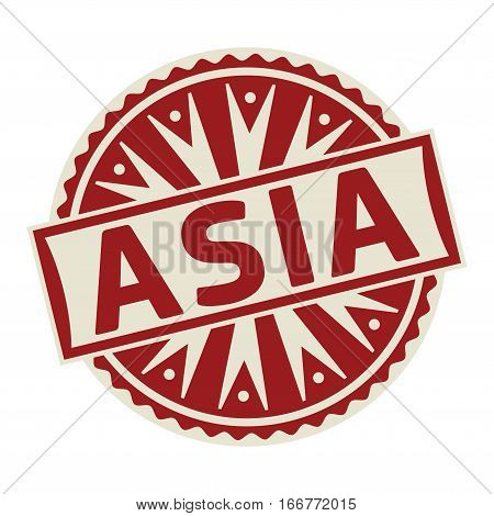 Stamp label or tag business concept with the text Asia vector illustration.