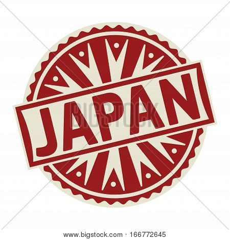 Stamp label or tag business concept with the text Japan vector illustration.