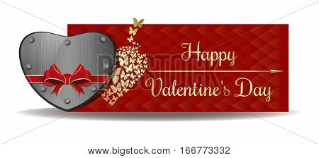 Valentine's Day banner. Iron heart tied with red ribbon on the background of a greeting card. Gold greeting inscription on an abstract red background. Happy Valentine's Day. Vector illustration