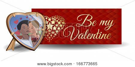 Valentine's Day card. Banner. Photo in the frame on the background of a greeting card. Be my Valentine. Couples in love. Boy and girl kissing. Vector illustration
