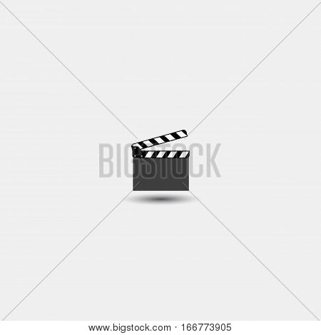 Vector clapper icon. Flat design on a white background
