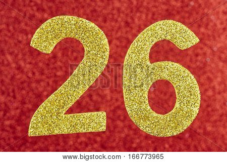 Number twenty-six yellow color over a red background. Anniversary. Horizontal