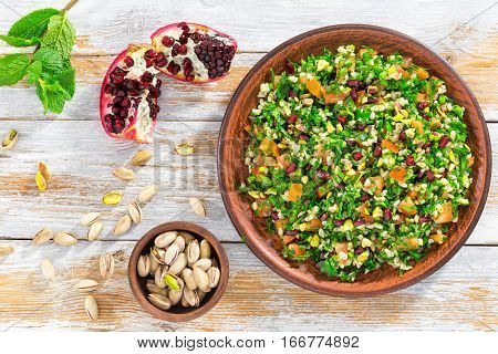 Delicious Tabbouleh Salad With Pomegranate, Pistachio Nuts